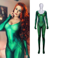film zentai catsuit achat en gros de-Film Marvel Quinn Mera Costume Cosplay 3D Imprimé Justice Ligue Costumes Sexy Serré Catsuit Costume Partie Body