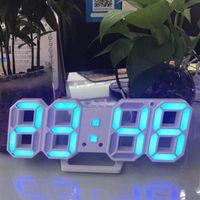 saat tarih sıcaklığı toptan satış-Modern 3D LED Duvar Saati Dijital Çalar Saat Tarih Sıcaklık mekanizması Perakende kutusunda Alarm Erteleme Masa Masa Saati