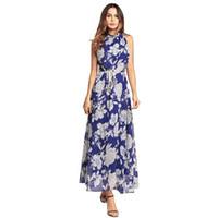 gevşek bohem eteği toptan satış-2018 Bahar Yeni kadın Baskı gündelik Elbise Bohemian Plaj Etek Gevşek Şifon Elbiseler 3 renkler ücretsiz kargo