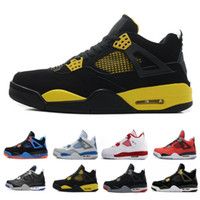 new product 46cbd 319fd Cheap Top 4 men basketball shoes sneakers Black Yellow White Cement Pure  Money Bred Royalty Game Royal 4s Sports shoes US 7-13