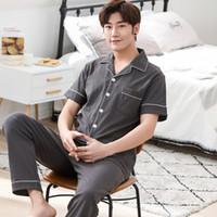 39f4af2b7a High Quality Summer 100%Coon Short Sleeve Turn-down Collar Men s Pajamas  Set Short Top+Long Pants Big Size M-3XL Male Pyjamas