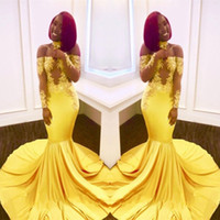 Wholesale Sexy Prom Free - Free Shipping Yellow Mermaid Black Girls Prom Dresses 2018 Custom Made Sheer Long Sleeves Appliques Satin Evening Gowns Off Shoulders BA7903