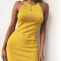 ingrosso vestito di cotone giallo per le donne nere-Donne Sexy Club Backless Spaghetti Strap Summer Dress 2018 Cotton Ladies Elastico Bodycon Nero Giallo Party Mini Abiti Vestido