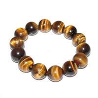 gesegnete armbänder großhandel-Lucky Bless Perlen Armband Armreif Tigerauge Stein Männer Frauen Modeschmuck Natürliche Unisex Armband 1 stück