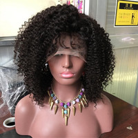 yapışkan olmayan peruk bakire kıvırcık toptan satış-Perulu Bakire İnsan Saç Tam Dantel Peruk Afro Kinky Kıvırcık Dantel Ön Peruk Tam Patlama Ile Tutkalsız Kıvırcık İnsan Saç Peruk