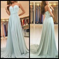 Wholesale Custom Made Prom Dresses Online - Sexy Sage Formal Dresses Long Chiffon Prom Dresses 2018 With Lace Sweetheart Sleeveless Floor Length Special Occasion Party Dresses Online