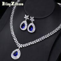 whole saleBlingZircons Brand New Big Water Drop Royal Blue Zirconia Stone Earrings Necklace Bridal Wedding Jewelry Sets For Women JS032