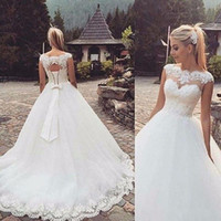 Wholesale ball gown wedding dresses china for sale - Group buy 2019 Vintgae Lace Ball Gown Wedding Dresses Bridal Gowns Vestido De Noiva Appliques China Cheap Merry Boat Neck Sheer Backless Court Train