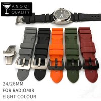 Wholesale Panerai Watches - Wholesale 24mm Colorful Waterproof Rubber Silicone Watch Band Strap Pin Buckle Watchband Strap for Panerai Watch PAM Man PAM00616 with Tools