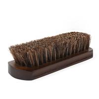 rote bürsten für haare großhandel-Red Horse Hair Brush Redwood Steigbügelbürste weiches Haar Reinigungsbürste Lederschuhe Pflege der Kleidung Pflege Renovierung