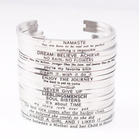Wholesale Quotes Hot - 2018 Hot Stainless Steel Engraved Positive Inspirational Quote Hand Stamped Cuff Mantra Bracelet Bangle For Women Best Gifts