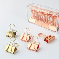 Wholesale Color Office Paper - 19mm Solid Color Rose Gold Metal Binder Clips Notes Letter Paper Clip Home Office Storage Supplies ZA6807