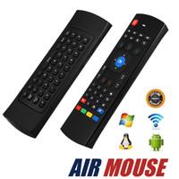 mouse de teclado sem fio infravermelho venda por atacado-Air Mouse sem fio Controle Remoto Teclado QWERTY Sem Fio Multi-media 2.4 GHz Controlador Infravermelho Para Android TV Box HTPC com Caixa De Varejo