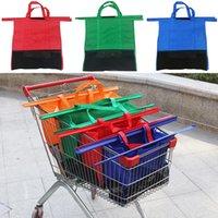 Wholesale bedding sets bag - 4pcs set Non Woven Shopping Bag Supermarket Trolley Hanging Bags Square Foldable Reusable Storage Bag High Capacity WX9-711