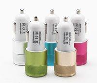 x mini şarj cihazı toptan satış-Mini Çift USB Araç Şarj Adaptörü Bullet Çift USB 2-Port Samsung Galaxy S5 Not iPhone 8 için 2.1A X Nokia HTC X21
