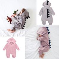 bebé mamelucos dinosaurio al por mayor-Baby Dinosaur Rompers Ins Trajes de bebé de manga larga Boy Girl con capucha Outwear Jumpsuits Mamelucos Baby Infant Ropa Romper traje