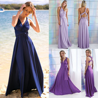 Wholesale bridesmaid dresses under 50 for sale - 2018 Cheap Spandex Long Bridesmaid Dresses Convertible V Neck Backless Beach Country Maid Of Honor Dress BM0143