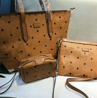 Wholesale 3pcs handbags resale online - 3pcs set Women Fashion Handbags PU Leather Printed Casual Totes Crossbody Shoulder Messenger Bag Female Pouch