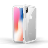 Wholesale Wholesale Iphone Goophone - DUZHI A8 Greaseproof HD Transparent Tempered Glass Back Cover Case Soft TPU Shock Absorption Bumper Anti-Fingerprint for iPhone X Goophone X