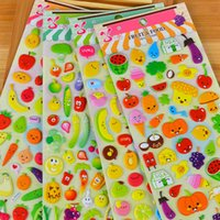 Wholesale diy phone stickers - 3D Puffy Bubble Stickers Cartoon Fruits DIY Phone Decoration Paster Children Toy Hot Sale 1 85sr C