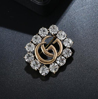 Wholesale brooch accessory dress resale online - Fashion hot crystal diamond letter brooch hollow corsage brooch female fashion jewelry dress wedding accessories