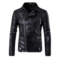Wholesale polyester leather jacket - Wholesale- 2017 harley motorcycle rider jacket mens leather jacket man's genuine cowhide embroidery skull leather jacket slim coat