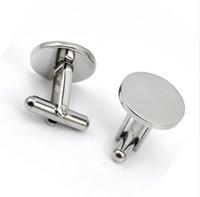 ingrosso gemelli in argento vuoto-Men Metal Engrave Logo Personalizzato in acciaio inossidabile Round Gemelli Blanks Argento personalizzato gemelli gemelli Button Gemelos