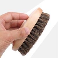 ingrosso spazzole per lavanderie-Spazzola per scarpe morbida ovale Spazzola per scarpe pulita per lucidare Spazzola per scarpe in crine di cavallo