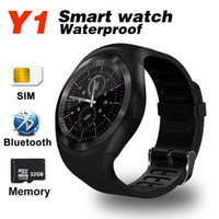 Wholesale android iphone app - Bluetooth Smartwatch Y1 Smart Watch Reloj Relogios 2G GSM SIM App Sync Mp3 for Apple iPhone Xiaomi Android Phones