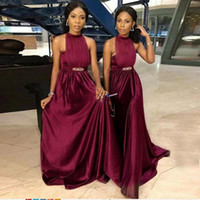 Wholesale line wedding dress brown sash resale online - Burgundy Bridesmaid Dresses High Neck Pleated Sash Beaded A Line Sleeveless Black Girls African Wedding Guest Gowns Maid Of Honor Dress