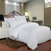 Wholesale queen size beds free shipping for sale - Pure White Satin Cotton Hotel Bedding Set High Quality Star Hotel Bed Linen Twin Full Queen King Size