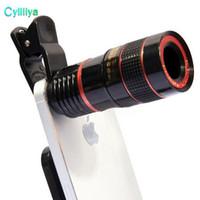37mm kameraobjektiv groihandel-8x Zoom Optisches Telefon Teleskop Portable Handy Tele Kamera Objektiv und Clip für iPhone Smartphone