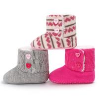 zapatos de crochet al por mayor-2018 Nuevo Invierno Encantador Niños Niñas Niños Crochet Knit Woolen Soft Toddler Flat Snow Boots Zapatos 0-18 M