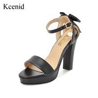 wholesale 2018 Summer new sweet bowtie elegant women sandals high heels  platform pumps black white pink shoes woman plus size 33-43 9d5330bf3fde