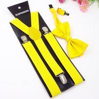 Wholesale mens adjustable black bowtie for sale - Group buy Mens Womens Unisex Suspenders Bowtie Set Clips on Elastic Adjustable Braces Straps Clothing Accessories Bar Tender Party