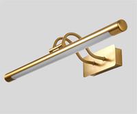 duvar yuvarlak aynalar toptan satış-Retro Döner Ayna Ön Duvar Işık Yuvarlak Banyo Duvar Lambası Altın Metal Dışkı Makyaj Soyunma Aplikleri Ev Aydınlatma G892