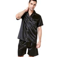 satin kurzer pyjama-set großhandel-TonyCandice Satin Silk Pyjama Shorts für Männer Rayon Silk Nachtwäsche Sommer Male Pyjama Set Soft Nightgown für Männer Pyjamas