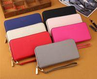Wholesale women purse wrist - M series single zipper wallets cheap luxury designer brand women pu leather wallet lady long purse Wrist bag cross pattern casual purse