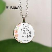 religionsanhänger großhandel-Psalms 46: 5 Bibelverse Gott ist in ihr Sie wird nicht fallen Kindergarten Vers Halskette Modeschmuck Religion Christian Anhänger