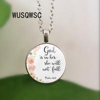 ingrosso pendenti religiosi-Salmi 46: 5 Versetti della Bibbia Dio è dentro di lei Non cadrà Nursery verse necklace Gioielli di moda Religione Ciondolo cristiano