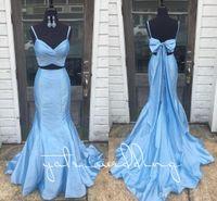 vestido de tafetá de ouro venda por atacado-Elegante 2018 Céu Azul Sereia Vestidos de Baile Cintas de Espaguete Plissado Tafetá Arco Sem Encosto De Ouro Roxo Two Piece Prom Vestidos