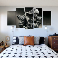 Wholesale Japanese Painting Canvas - HD Canvas Spray Printing 5 Pieces Japanese Samurai Home Decoration Poster Canvas Paintings Unframed Dropshipping