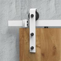 puertas correderas pistas al por mayor-DIYHD 5ft / 6ft / 8ft Rustic White Sliding Granero Puerta Hardware Moderno Granero Puerta de madera Kit de pista colgante