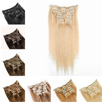 "Wholesale cheap clip extensions - Hot sale Indian remy hair Clip in on Human Hair Extension 16""-26"" 7pcs set 70g dark brown blonde color cheap hair"