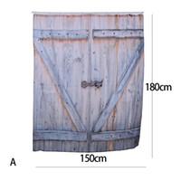 ingrosso vintage tende da doccia-Tenda della doccia del poliestere di stile country americano Bronzo antico Porta del garage in legno Tenda della doccia rustica dell'annata Decorazione del bagno Arte