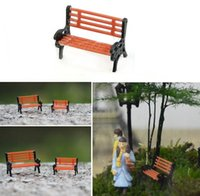 silla de parque al por mayor-Park Bench Chair Garden Layout Paisaje Musgo Micro Paisaje Decoración DIY 3 tamaños disponibles