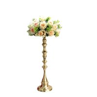 Wholesale Led Tables Bars - 53 cm Tall Gold Candle Holder Candle Stand Wedding Table Centerpiece Event Road Lead Flower Rack 10 pcs   lot