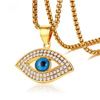 """Wholesale white gold blue stone pendant - Trendy Evil Blue Eye Pendant Necklace Gold Color AAA CZ Stone Stainless Steel Necklaces for Men Women Luxury Jewelry 24"""" Chain"""