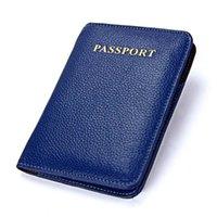 Wholesale Money Passports - Women Men Genuine Leather Passport Card Money Ticket Cover Holder Protector Wallet 5 Color W064