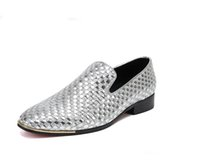 Wholesale low heel gold glitter shoes - Men Woven Loafers Slip On Smoking Slippers Mens Moccasin Slippers Pointed Toe Dress Shoe Party And Wedding Flat Shoes
